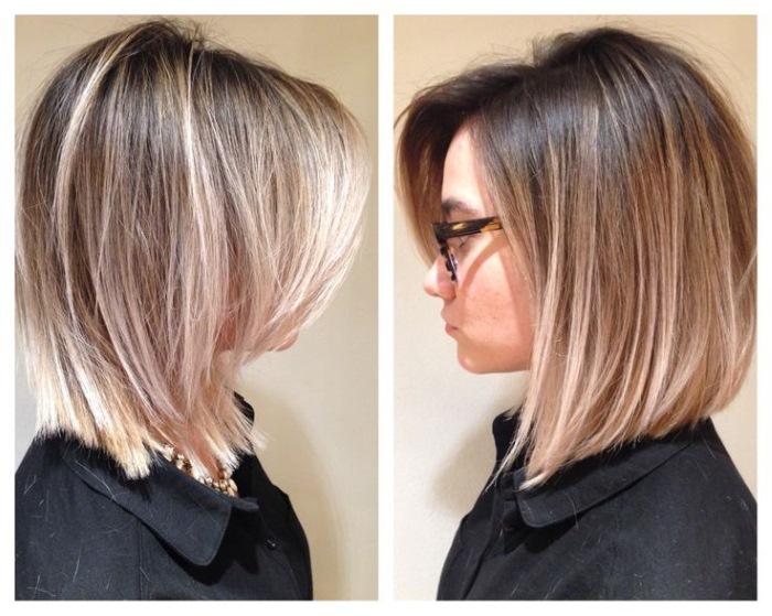 балаяж на средние волосы с челкой